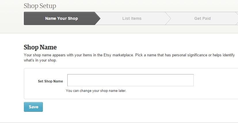 Etsy shop name