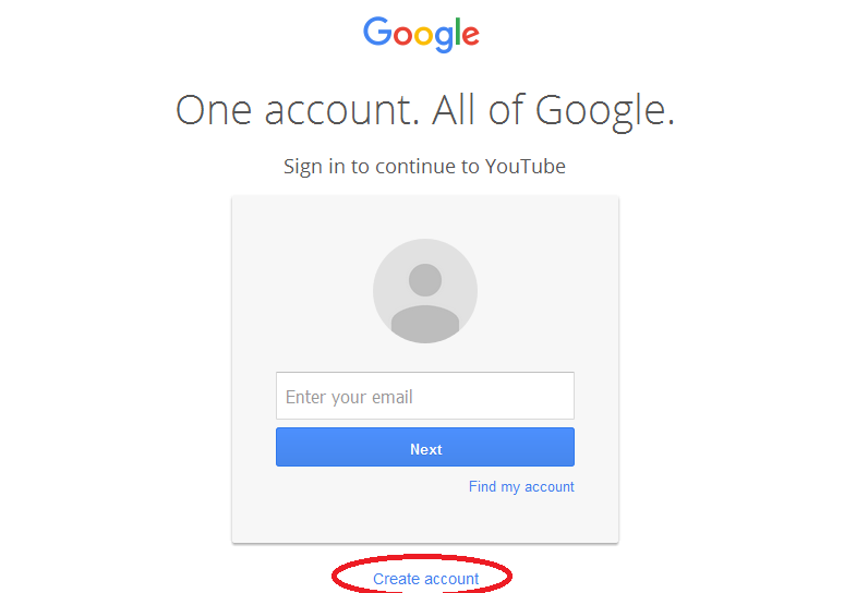 youtube account registration