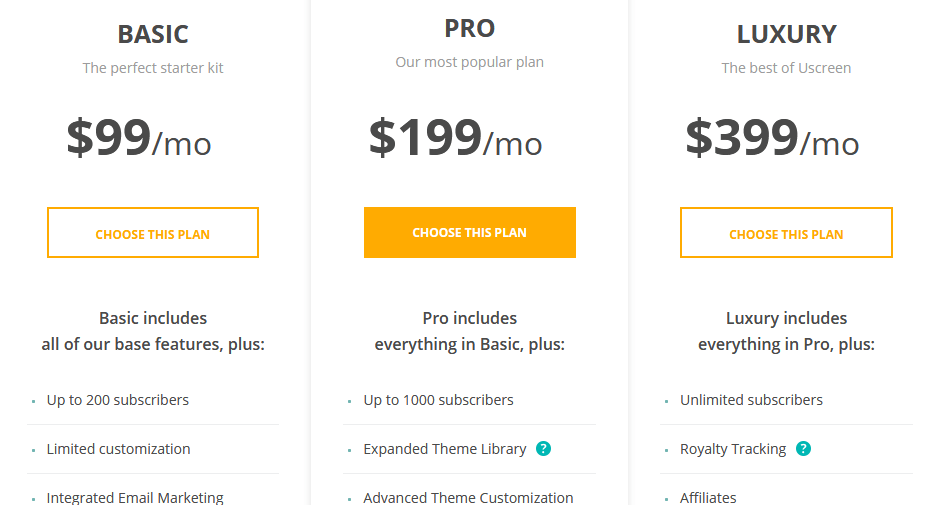 Uscreen pricing options