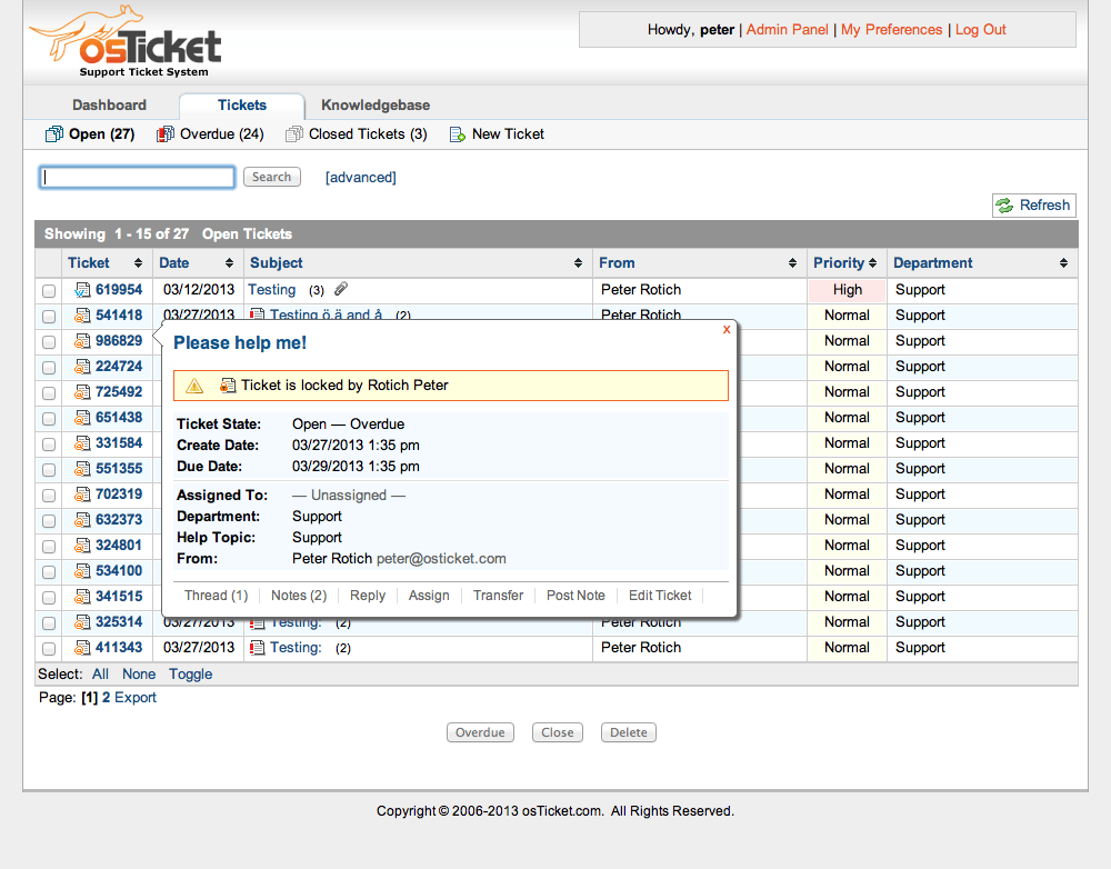 OsTicket Is One Of The Best And Fully Featured Help Desk Ticketing System  That Is Meant For Both Beginner And Advanced Use. You Can Even Build Your  Help ...