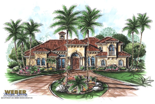 Mediterranean House Plan 2 Story Tuscan Style Home Floor