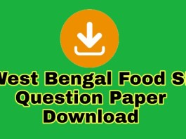 WB Food Sub Inspector Previous Year Question Download