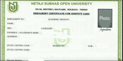 NSOU Enrolment Certificate Demo