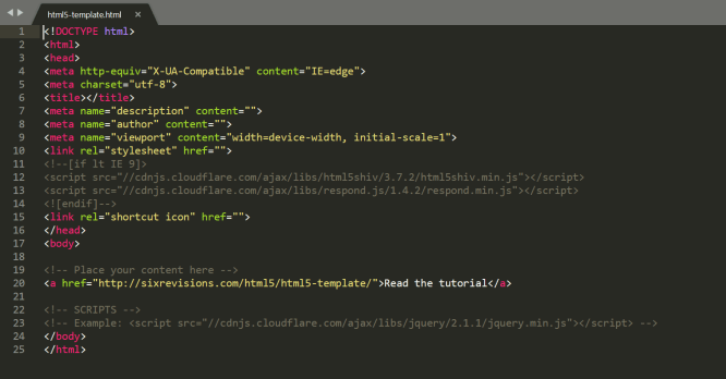 HTML5 template screenshot in Sublime Text