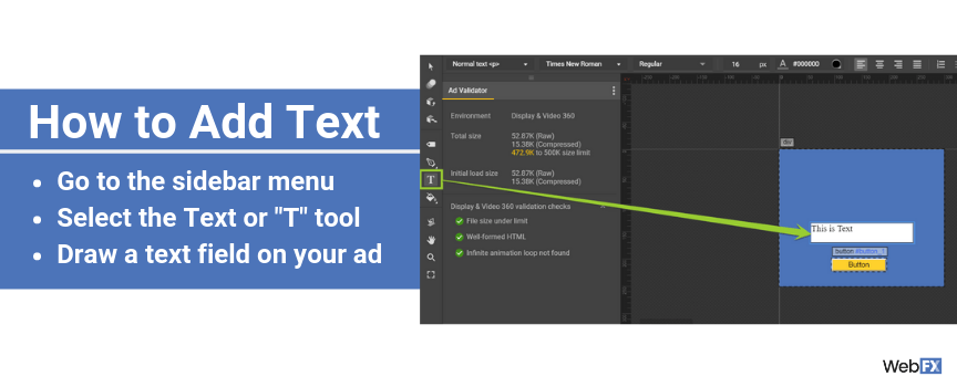 A screenshot of adding text in Google Ad Builder