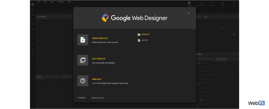 The launch screen of Google's ad builder