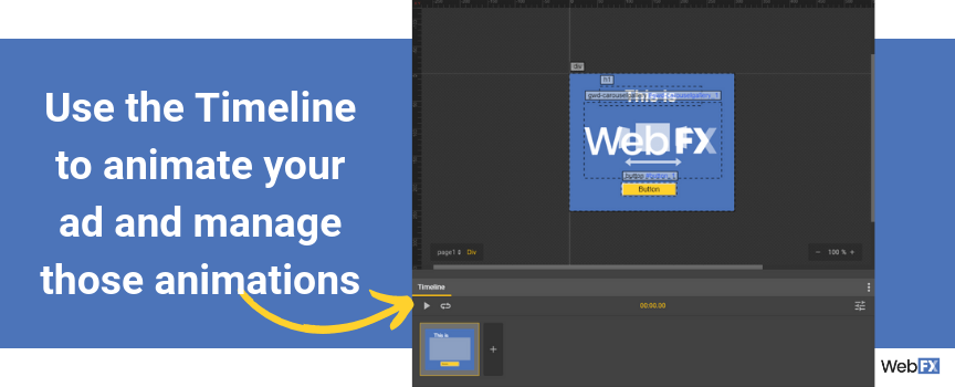 Use the timeline in Google's ad builder to animate your ads and manage your animations