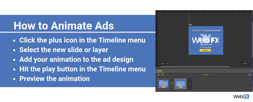 A screenshot of how to animate ads in Google's ad creator