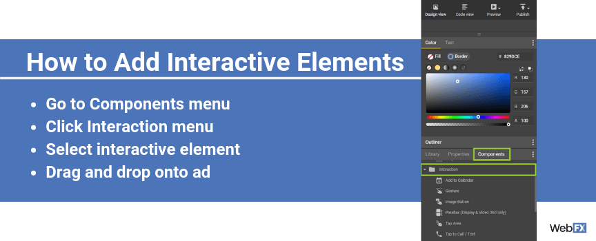 A screenshot of how to add interactive elements in Google's ad creator