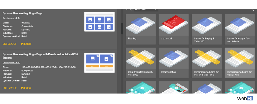 A screenshot of template previews in Google's ad creator