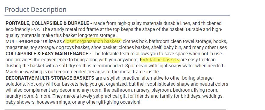 Keywords in a product description on Alibaba