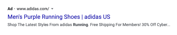 Ad content for purple running sneakers