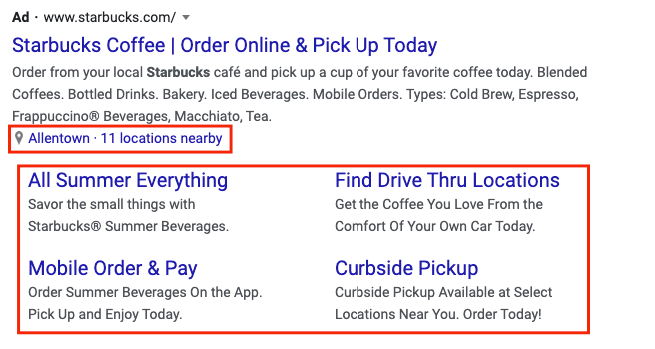 Ad extensions from a Starbucks ad