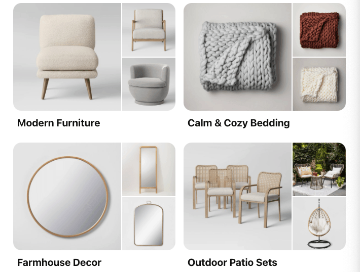 Category boards on Pinterest from Target's Pinterest page