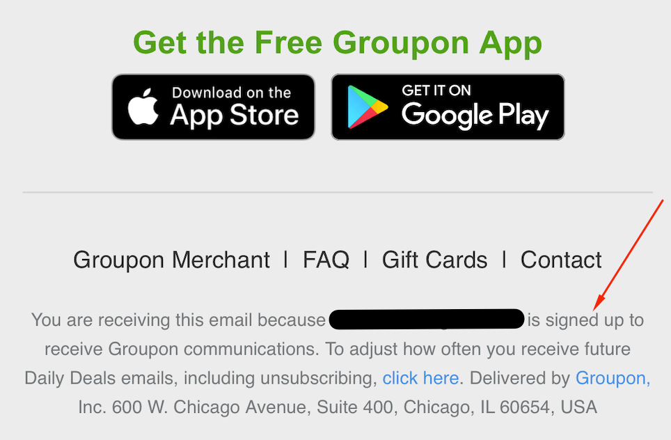 Groupon unsubscribe link