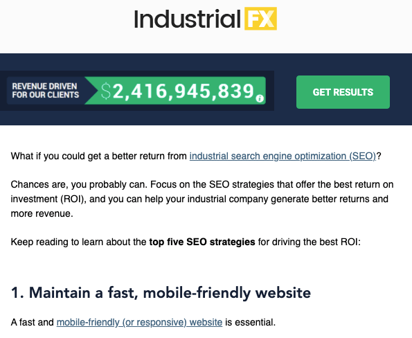 IndustrialFX sign-up page for newsletter