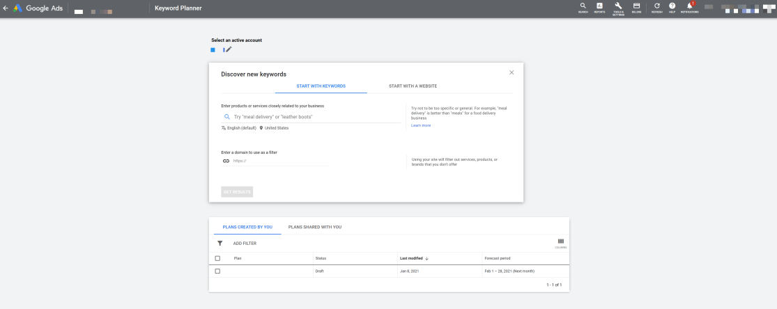 Google Ads Keyword Planner interface