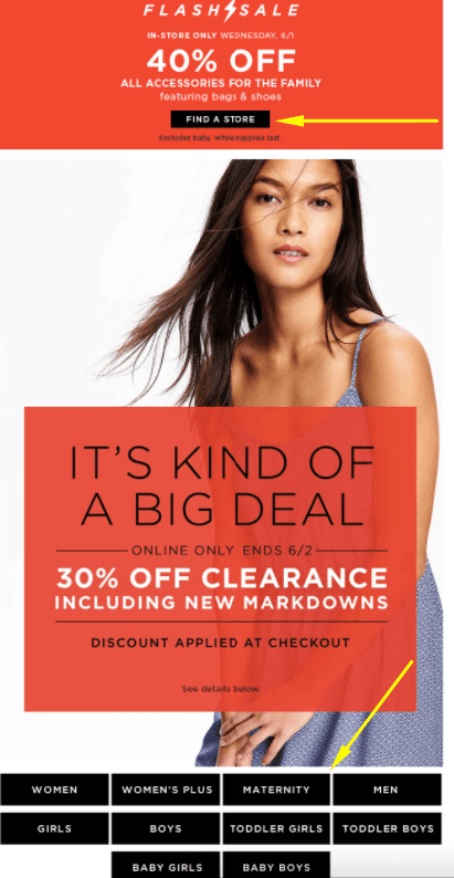 Example of links in an Old Navy email
