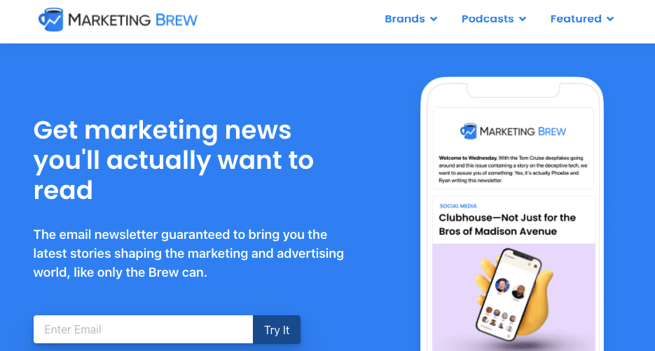 Marketing Brew's email sign-up page