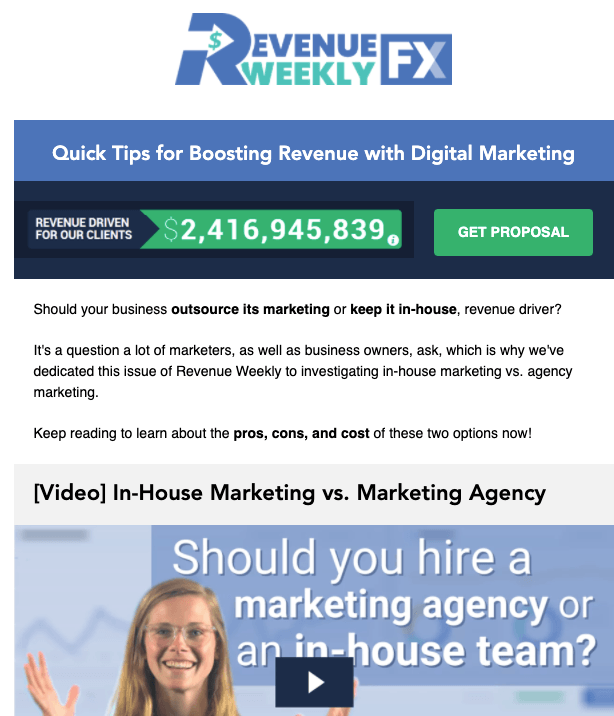 Example email from Revenue Weekly