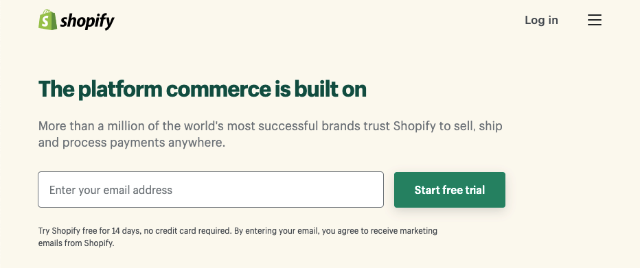 Homepage for Shopify's website