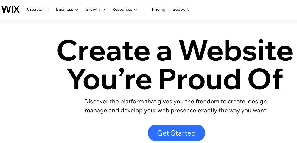 Homepage for Wix