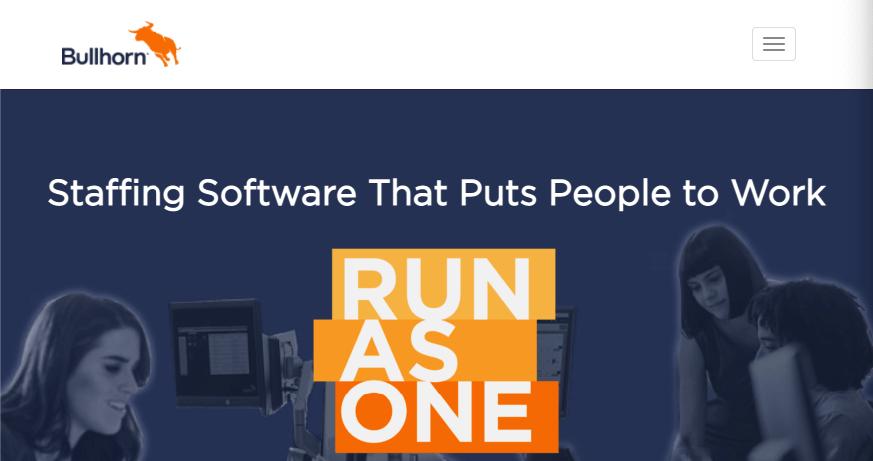 Homepage for Bullhorn recruitment software