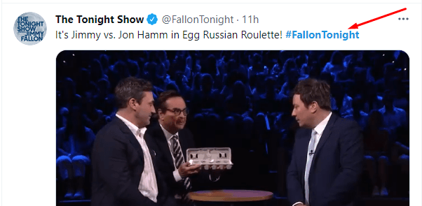 Tweet from Fallon Tonight that uses a hashtag