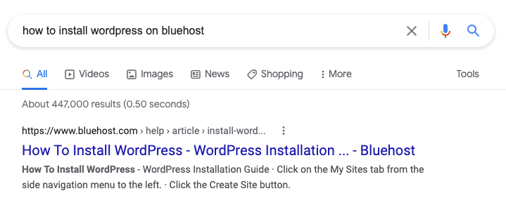 Googling how to install WordPress on Bluehost