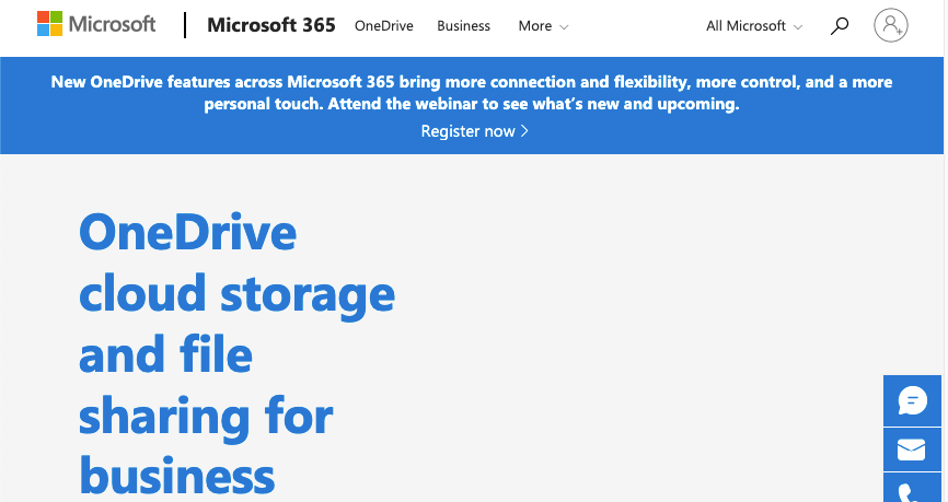 Homepage for Onedrive from Microsoft