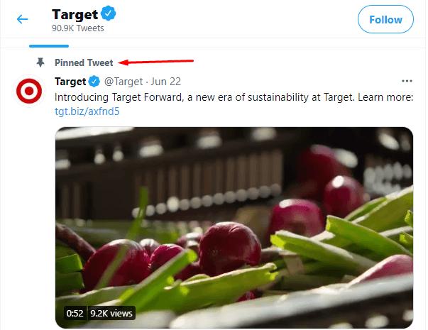 Tweet pinned at the top of Target's social media page