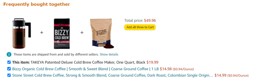 Product targeting: Frequently bought together