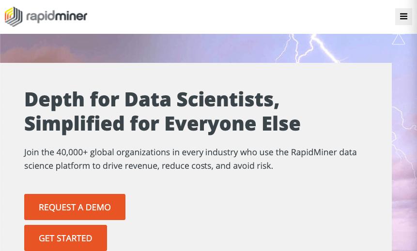 Homepage for data analysis tool Rapidminer