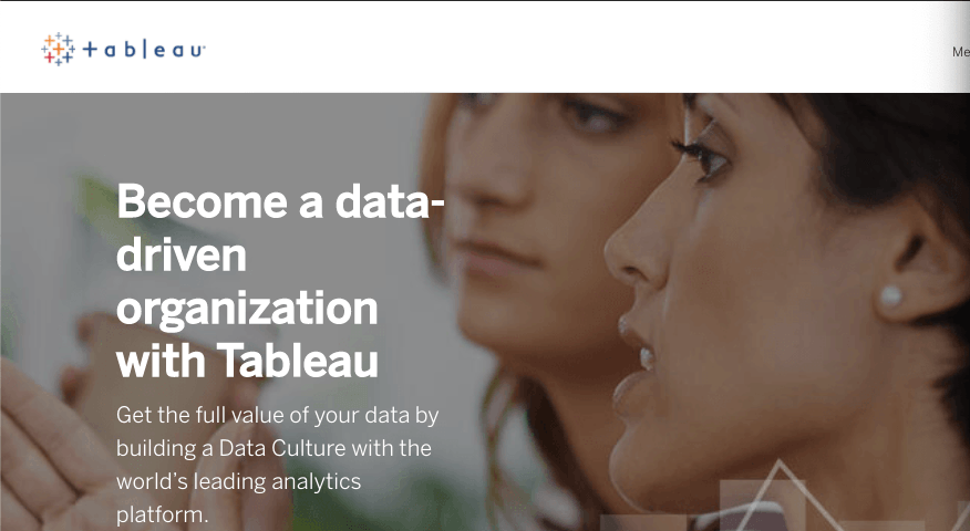 Homepage for data analysis software Tableau