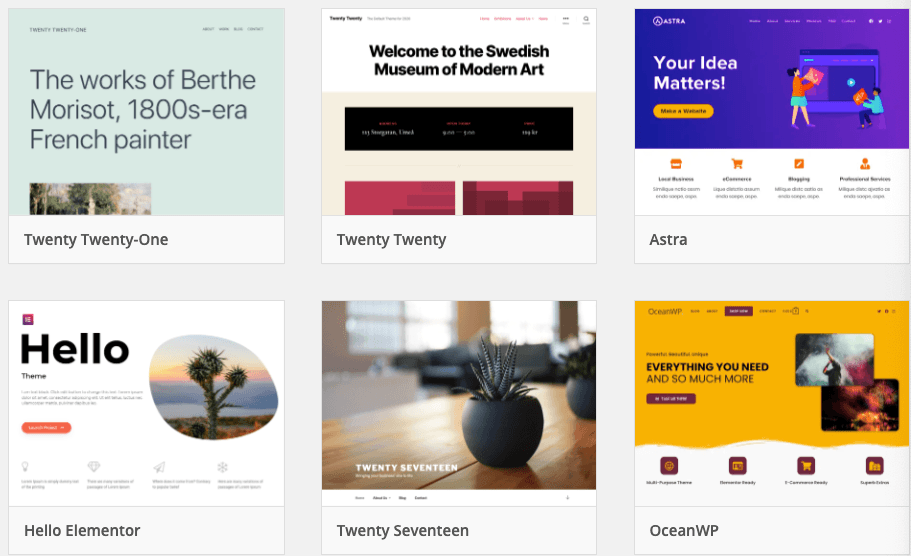 Themes available from WordPress
