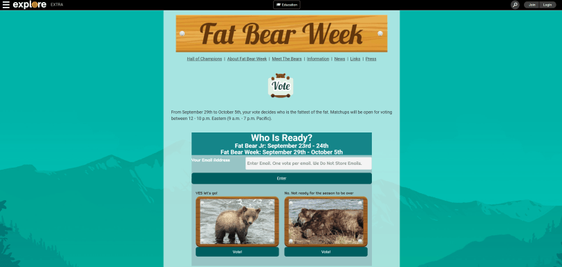 The Fat Bear Week website featuring text that reminds people of the 2021 Fat Bear Week competition and pictures of bears