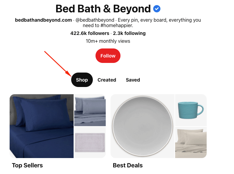 Shop tab from Bed, Bath, & Beyond
