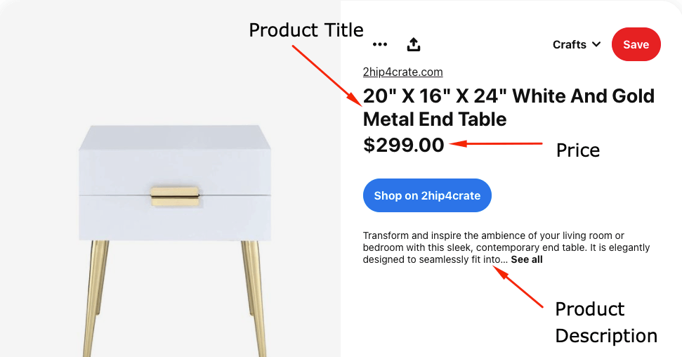 Shopping pin for an end table on Pinterest