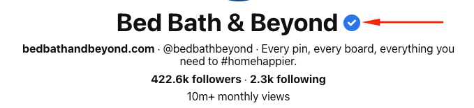 Bed, Bath, and Beyond's verified checkmark