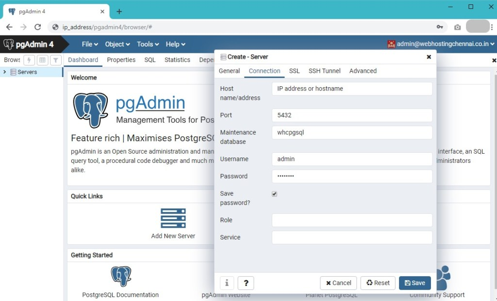 pgAdmin 4 : Installation steps on centOS 7 - PostgreSQL Instance Details