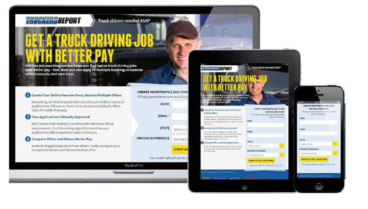 The new, fully responsive, TruckersReport site design created. by Conversion XL team.