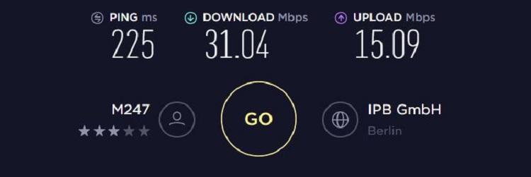 SpeedTest NordVPN EU