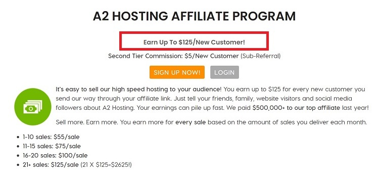 A2 Hosting offers affiliate commissions of up to $125 per sale.
