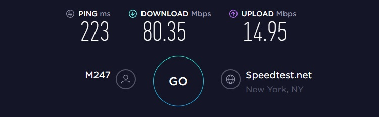 GyberGhost VPN speed test result from US server. Ping=223ms, download=80.35Mbps, upload=14.95Mbps.
