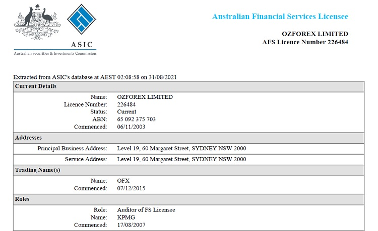OFX has an Australian Financial Services Licence issued by the Australian Securities and Investments Commission