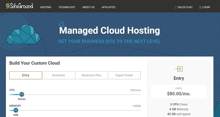 SiteGround managed cloud hosting packages start from $80/mo
