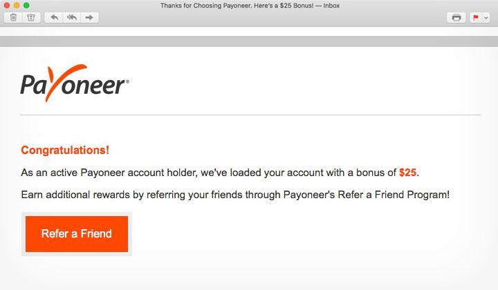 Payoneer $25 Bonus Email