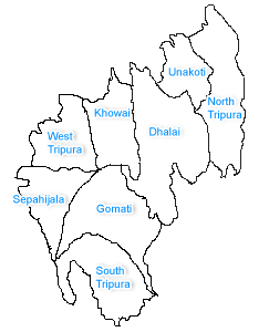 District Map of Tripura, area and population in each district