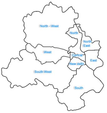 Districts Map of Delhi- webindia123.com