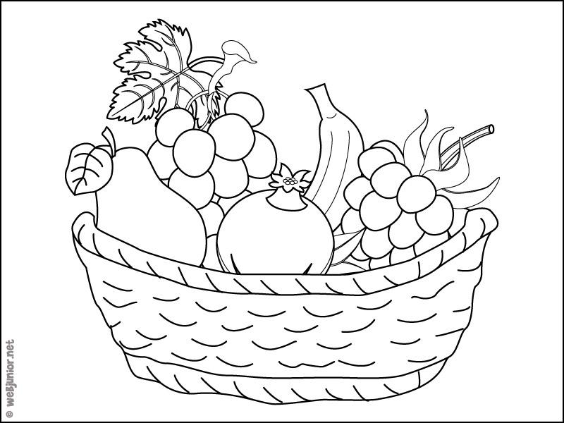 Panier de fruits : coloriage Nature gratuit sur Webjunior